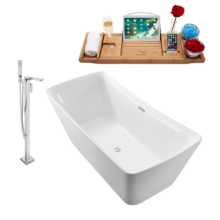 "Tub, Faucet and Tray Set Streamline 62"" Freestanding NH540-140"