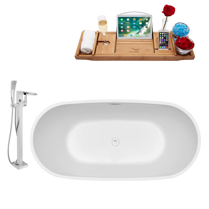 "Tub, Faucet and Tray Set Streamline 59"" Freestanding NH560-100"