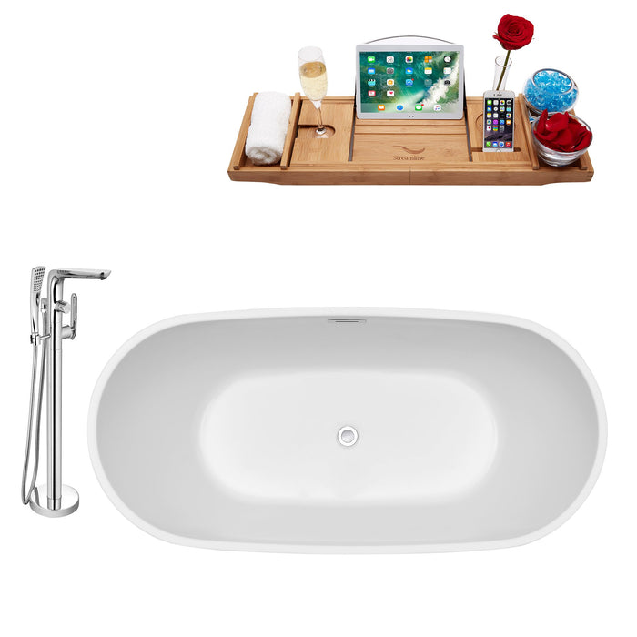 "Tub, Faucet and Tray Set Streamline 59"" Freestanding NH560-120"