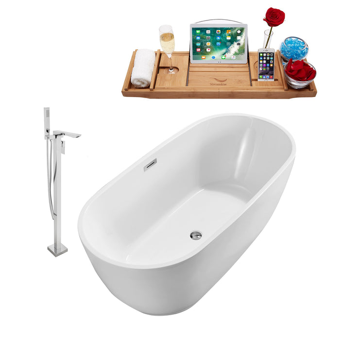 "Tub, Faucet and Tray Set Streamline 59"" Freestanding NH560-140"