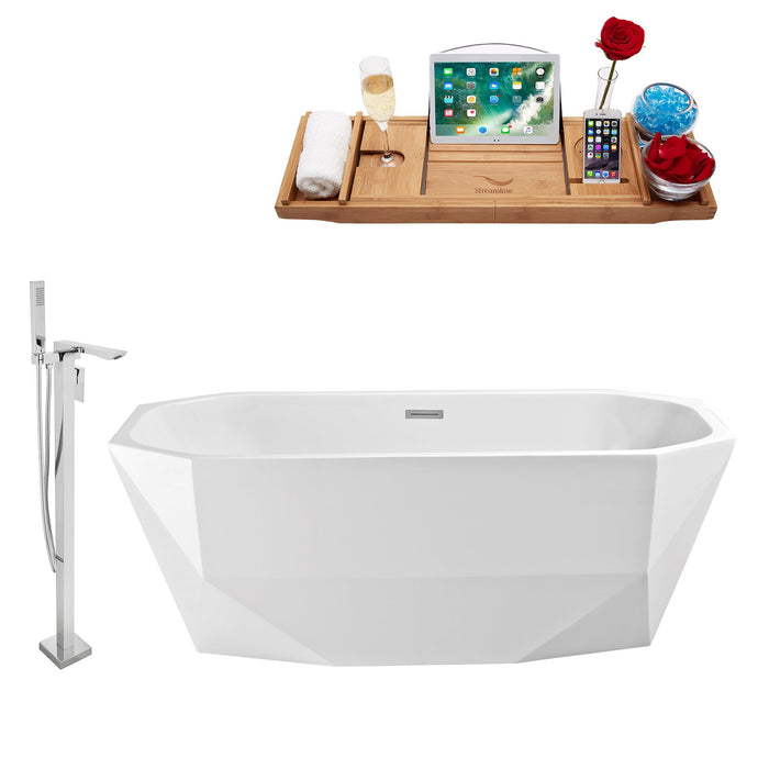 "Tub, Faucet and Tray Set Streamline 63"" Freestanding NH620-140"