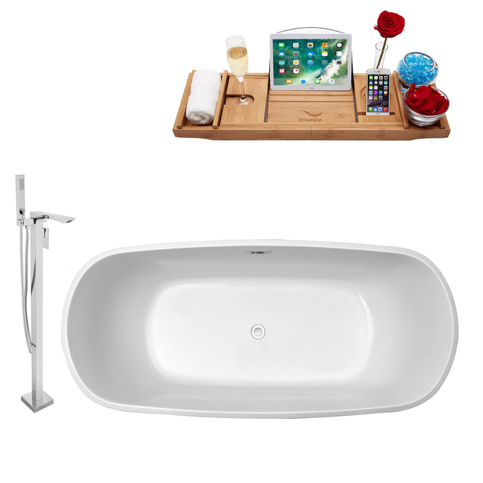 "Tub, Faucet and Tray Set Streamline 59"" Freestanding NH660-140"