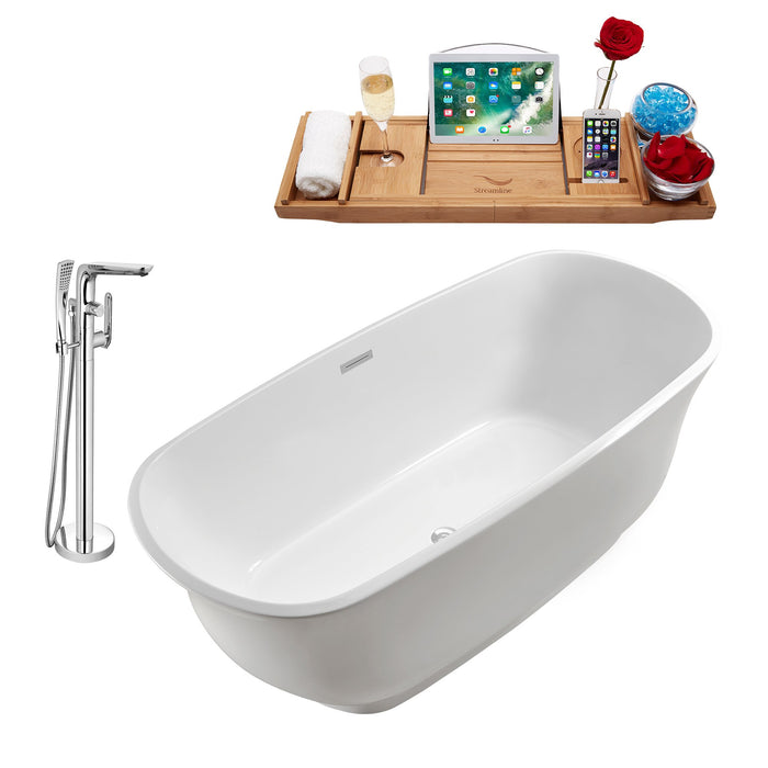 "Tub, Faucet and Tray Set Streamline 67"" Freestanding NH661-120"