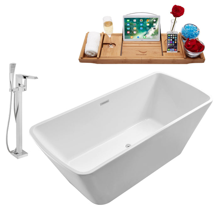 "Tub, Faucet and Tray Set Streamline 59"" Freestanding NH680-100"
