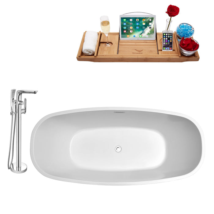 "Tub, Faucet and Tray Set Streamline 59"" Freestanding NH700-120"