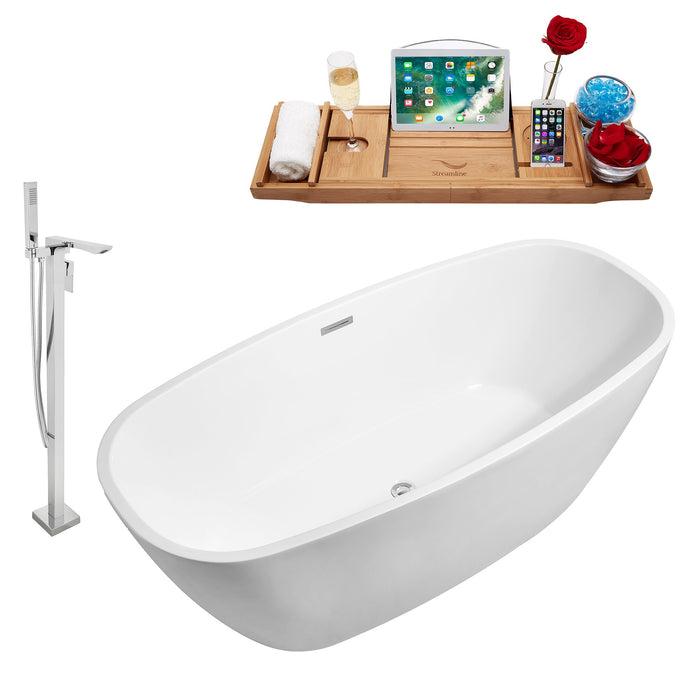 "Tub, Faucet and Tray Set Streamline 59"" Freestanding NH700-140"