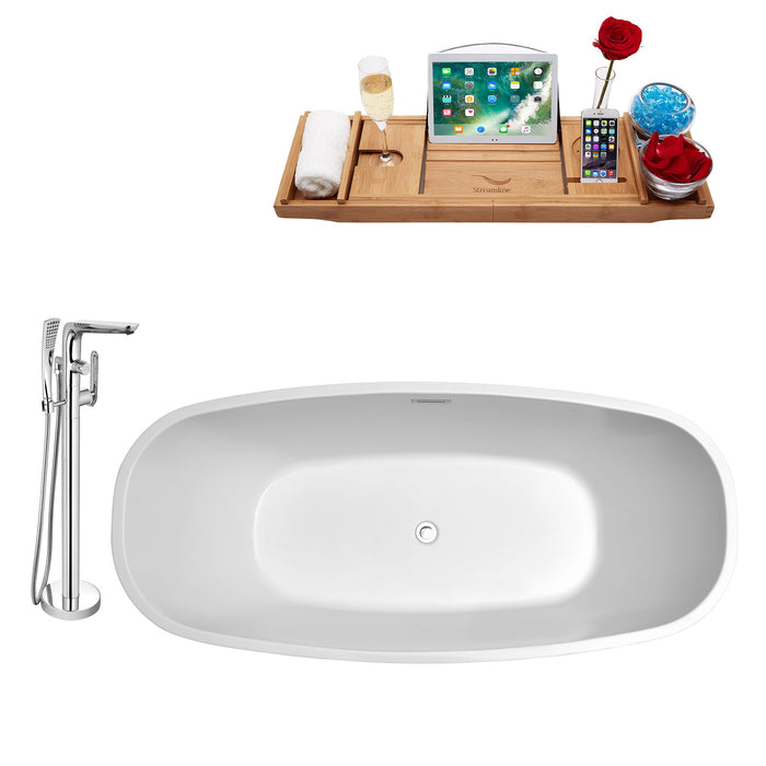 "Tub, Faucet and Tray Set Streamline 67"" Freestanding NH701-120"