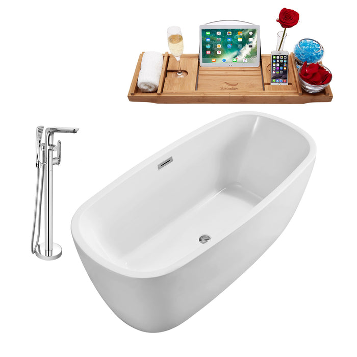 "Tub, Faucet and Tray Set Streamline 59"" Freestanding NH780-120"