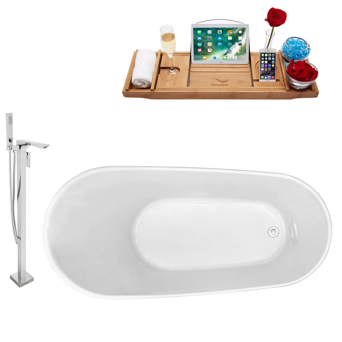 "Tub, Faucet and Tray Set Streamline 63"" Freestanding NH821-140"