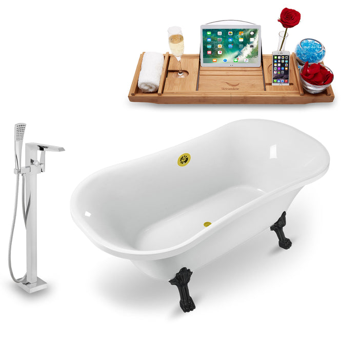 "Tub, Faucet and Tray Set Streamline 68"" Clawfoot NH861BL-GLD-100"