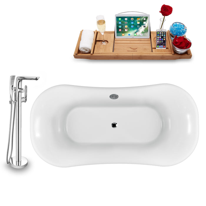 "Tub, Faucet and Tray Set Streamline 68"" Clawfoot NH861WH-CH-120"