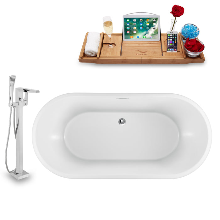 "Tub, Faucet and Tray Set Streamline 59"" Freestanding NH880-100"