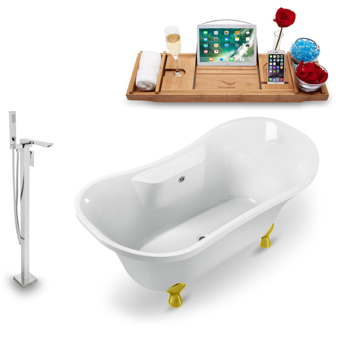 "Tub, Faucet and Tray Set Streamline 60"" Clawfoot NH900GLD-CH-140"