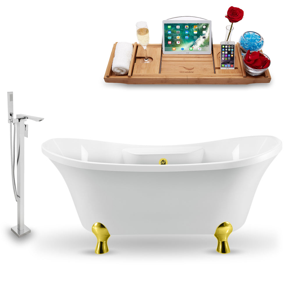 "Tub, Faucet and Tray Set Streamline 60"" Clawfoot NH900GLD-GLD-140"