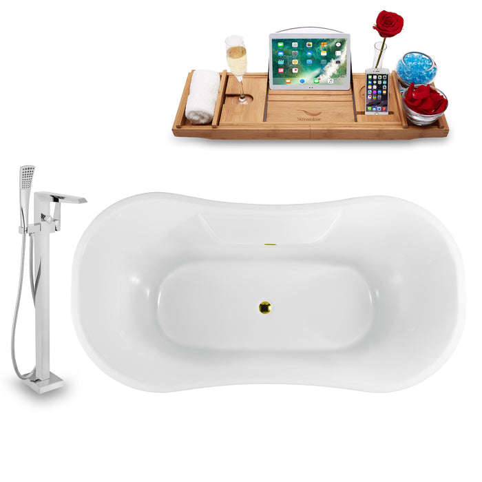 "Tub, Faucet and Tray Set Streamline 60"" Clawfoot NH900WH-GLD-100"