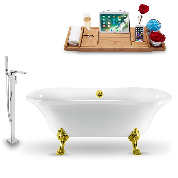 "Tub, Faucet and Tray Set Streamline 68"" Clawfoot NH901GLD-GLD-140"