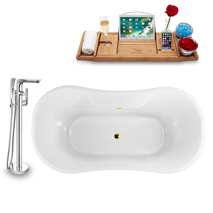 "Tub, Faucet and Tray Set Streamline 68"" Clawfoot NH901WH-GLD-120"