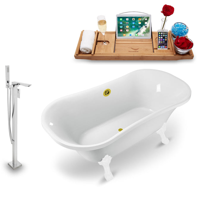 "Tub, Faucet and Tray Set Streamline 68"" Clawfoot NH901WH-GLD-140"