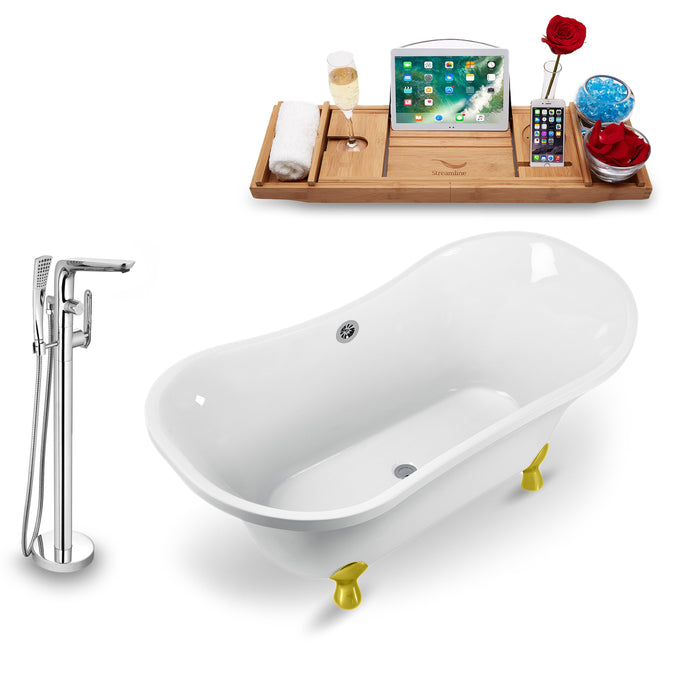 "Tub, Faucet and Tray Set Streamline 60"" Clawfoot NH920GLD-CH-120"