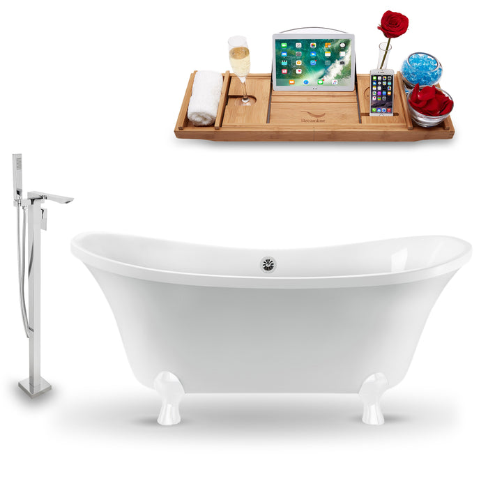 "Tub, Faucet and Tray Set Streamline 60"" Clawfoot NH920WH-CH-140"