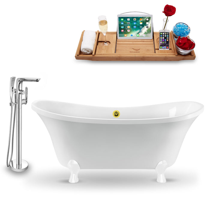 "Tub, Faucet and Tray Set Streamline 60"" Clawfoot NH920WH-GLD-120"