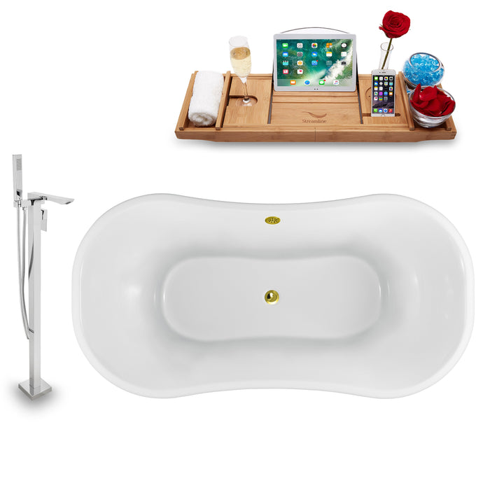 "Tub, Faucet and Tray Set Streamline 60"" Clawfoot NH920WH-GLD-140"