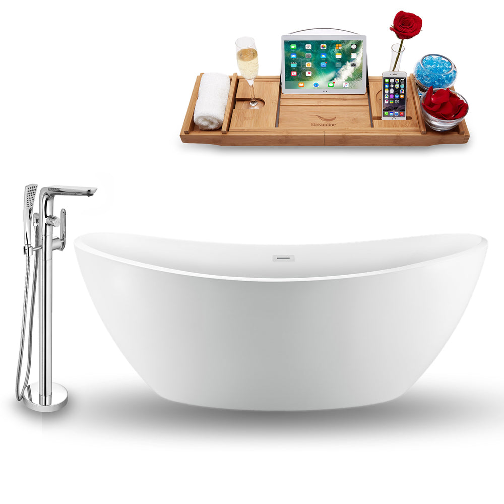 "Tub, Faucet and Tray Set Streamline 75"" Freestanding NH940-120"