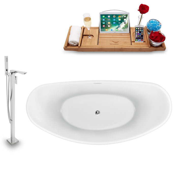 "Tub, Faucet and Tray Set Streamline 75"" Freestanding NH940-140"