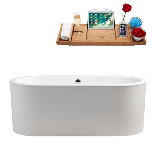 "67"" Cast Iron R-5400-67CIFSWH-FM Soaking Freestanding Tub and Tray with Internal Drain"