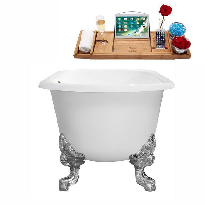 "69"" Cast Iron R5001CH-BNK Soaking Clawfoot Tub and Tray with External Drain"