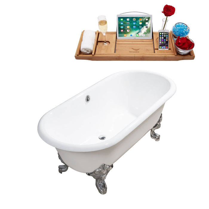 "69"" Cast Iron R5001CH-CH Soaking Clawfoot Tub and Tray with External Drain"