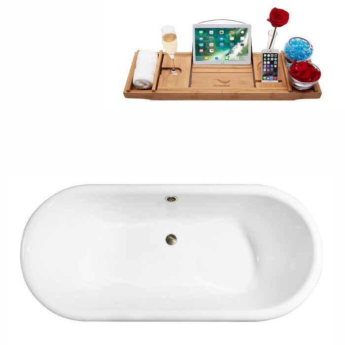 "69"" Cast Iron R5001GLD-BNK Soaking Clawfoot Tub and Tray with External Drain"
