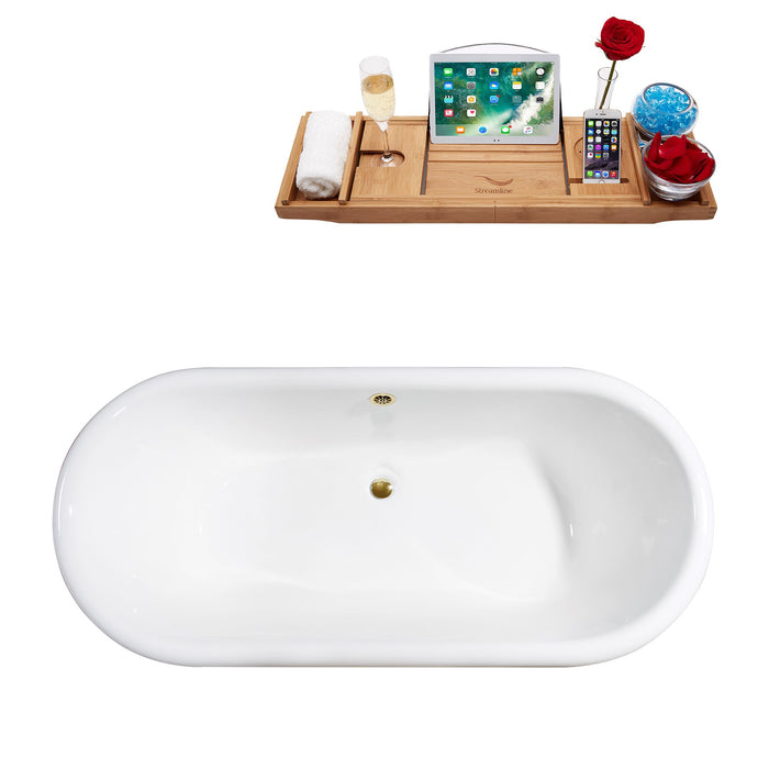 "69"" Cast Iron R5001GLD-GLD Soaking Clawfoot Tub and Tray with External Drain"