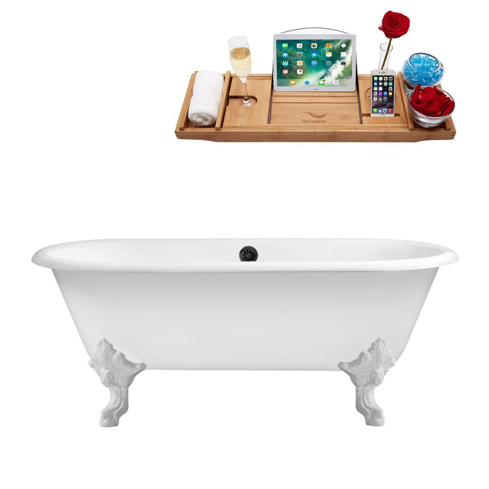 "69"" Cast Iron R5001WH-BL Soaking Clawfoot Tub and Tray with External Drain"