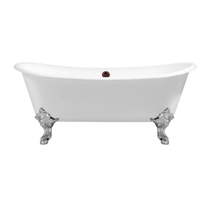 "72"" Cast Iron R5020CH-ORB Soaking Clawfoot Tub and Tray with External Drain"