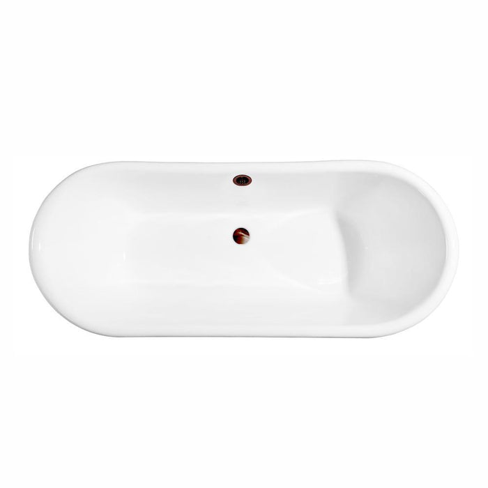 "72"" Cast Iron R5020GLD-ORB Soaking Clawfoot Tub and Tray with External Drain"