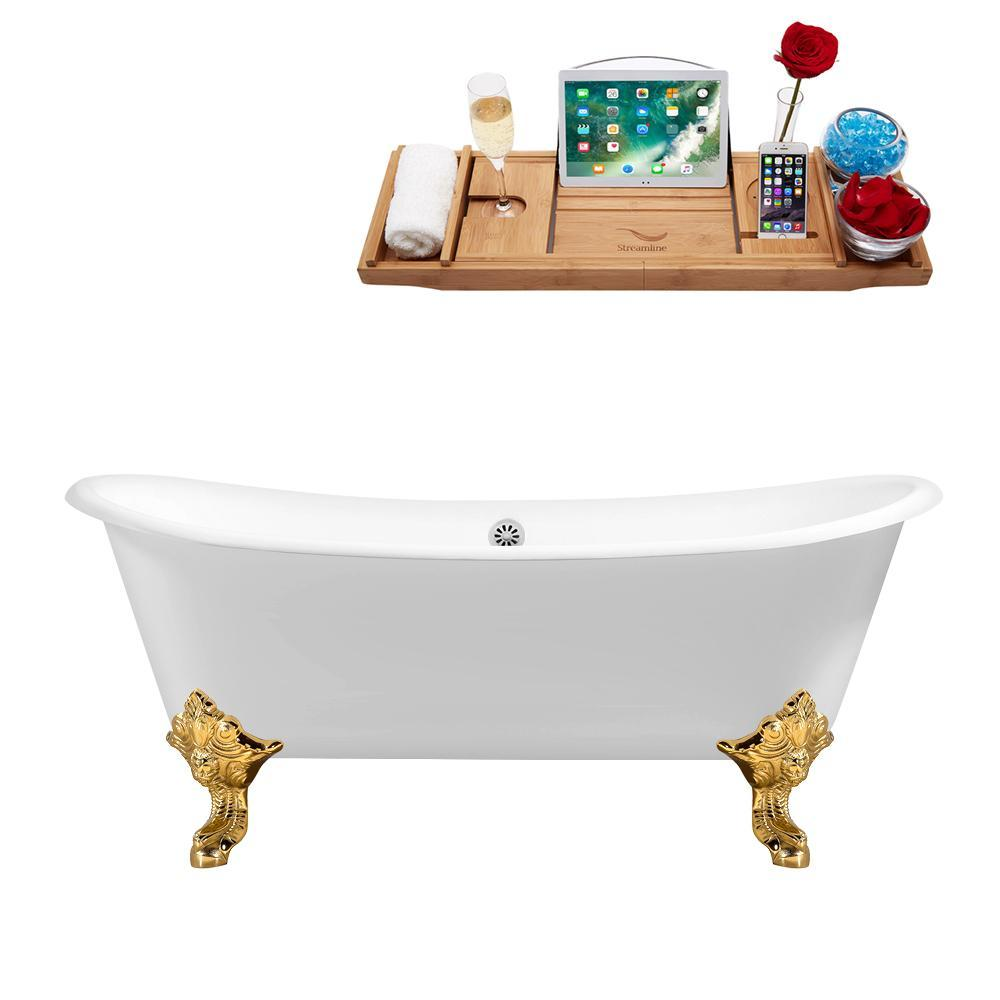 "72"" Cast Iron R5020GLD-WH Soaking Clawfoot Tub and Tray with External Drain"