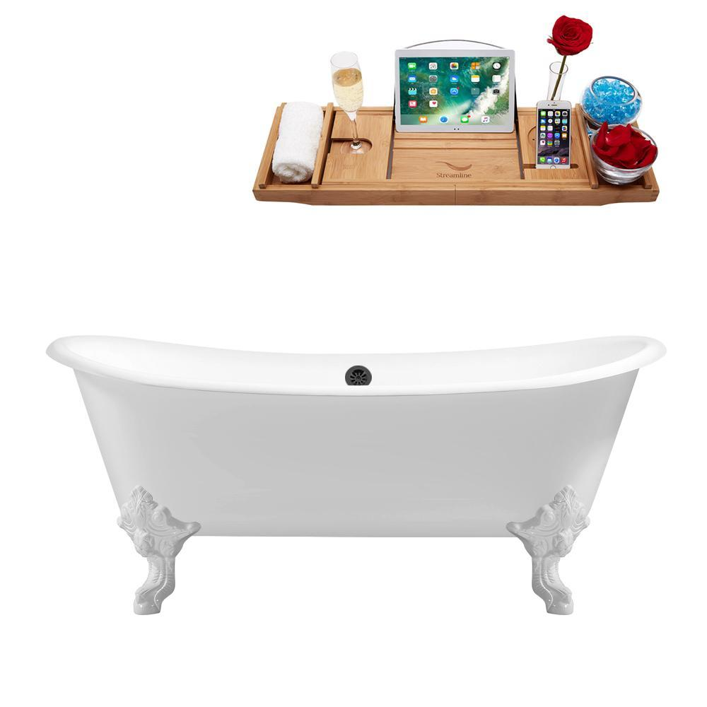 "72"" Cast Iron R5020WH-BL Soaking Clawfoot Tub and Tray with External Drain"