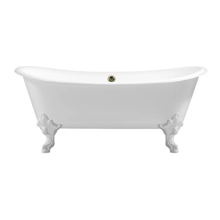 "72"" Cast Iron R5020WH-BNK Soaking Clawfoot Tub and Tray with External Drain"