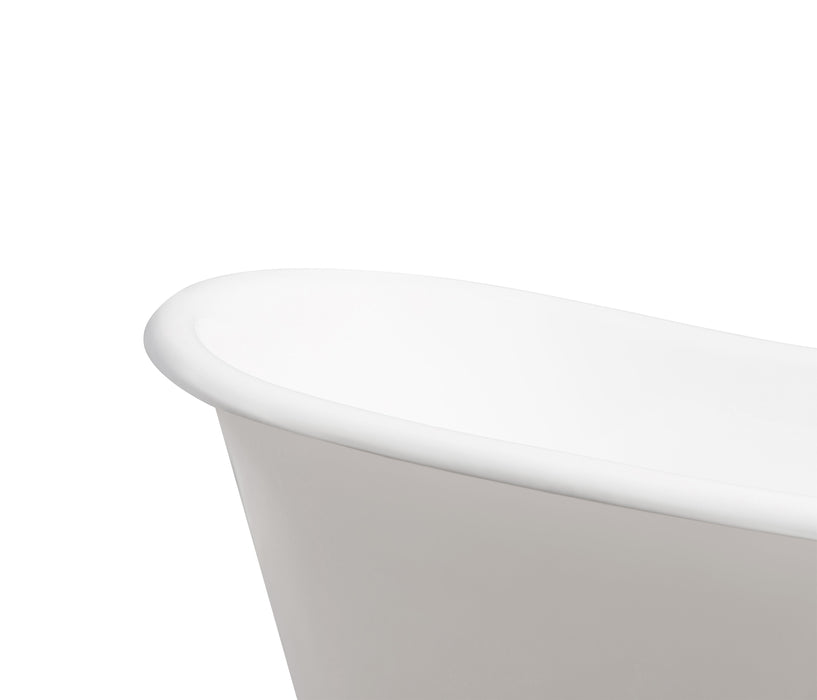 "72"" Cast Iron R5020WH-CH Soaking Clawfoot Tub and Tray with External Drain"