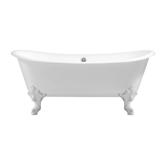 "72"" Cast Iron R5020WH-WH Soaking Clawfoot Tub and Tray with External Drain"