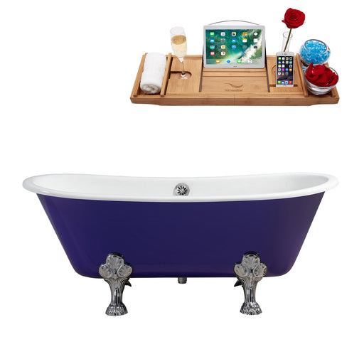 "67"" Cast Iron R5060CH-CH Soaking Clawfoot Tub and Tray with External Drain"