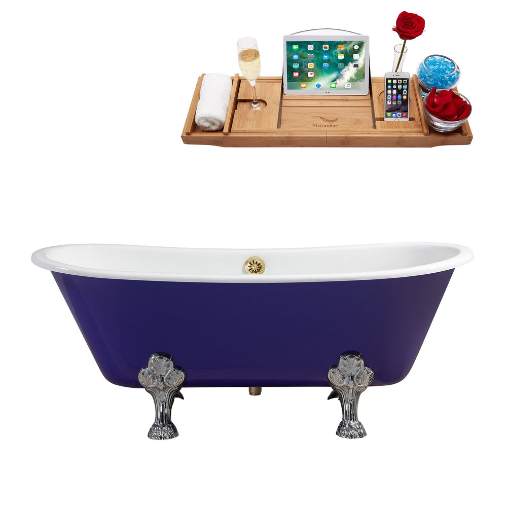 "67"" Cast Iron R5060CH-GLD Soaking Clawfoot Tub and Tray with External Drain"