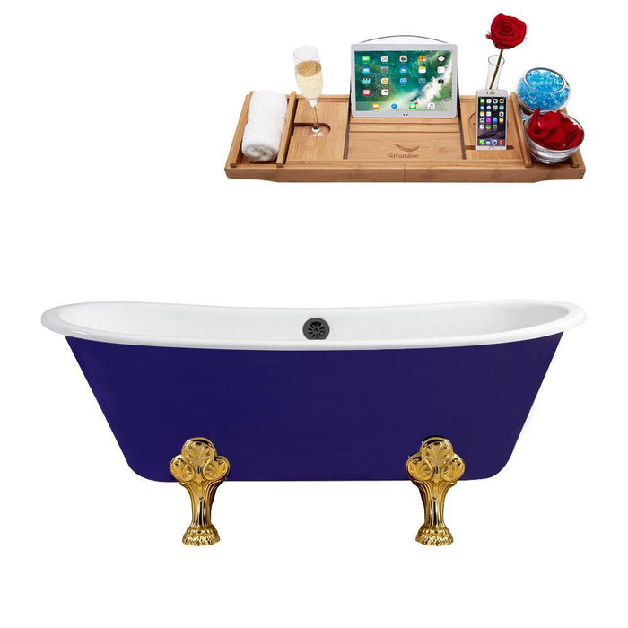 "67"" Cast Iron R5060GLD-BL Soaking Clawfoot Tub and Tray with External Drain"