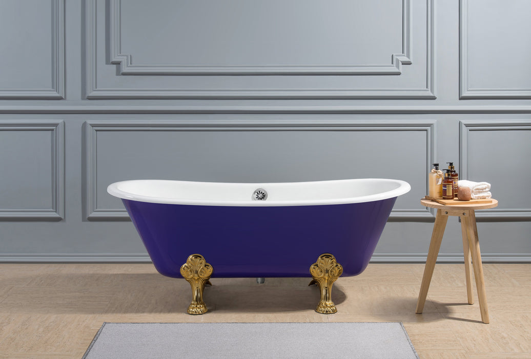 "67"" Cast Iron R5060GLD-CH Soaking Clawfoot Tub and Tray with External Drain"