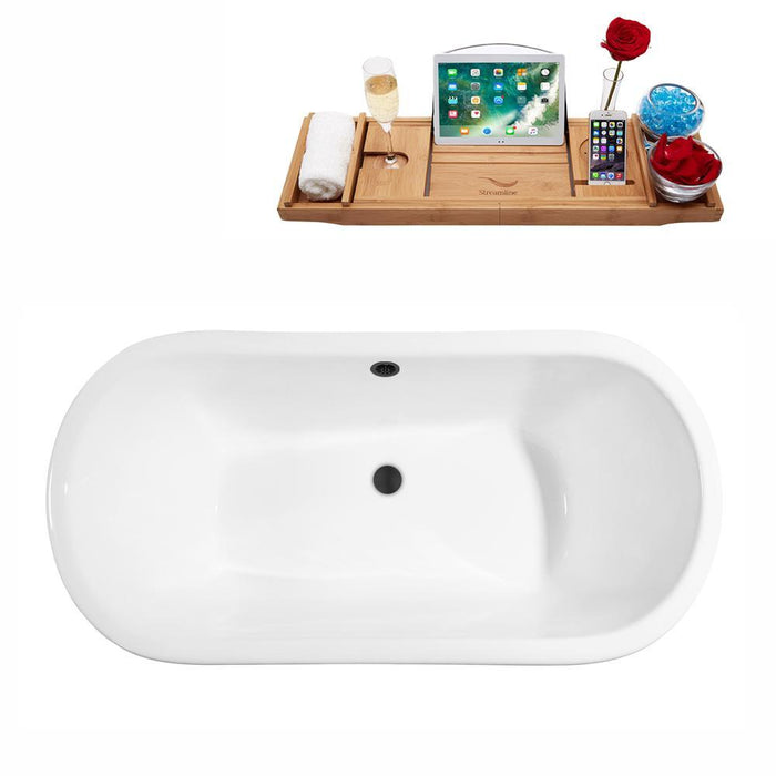 "67"" Cast Iron R5060WH-BL Soaking Clawfoot Tub and Tray with External Drain"