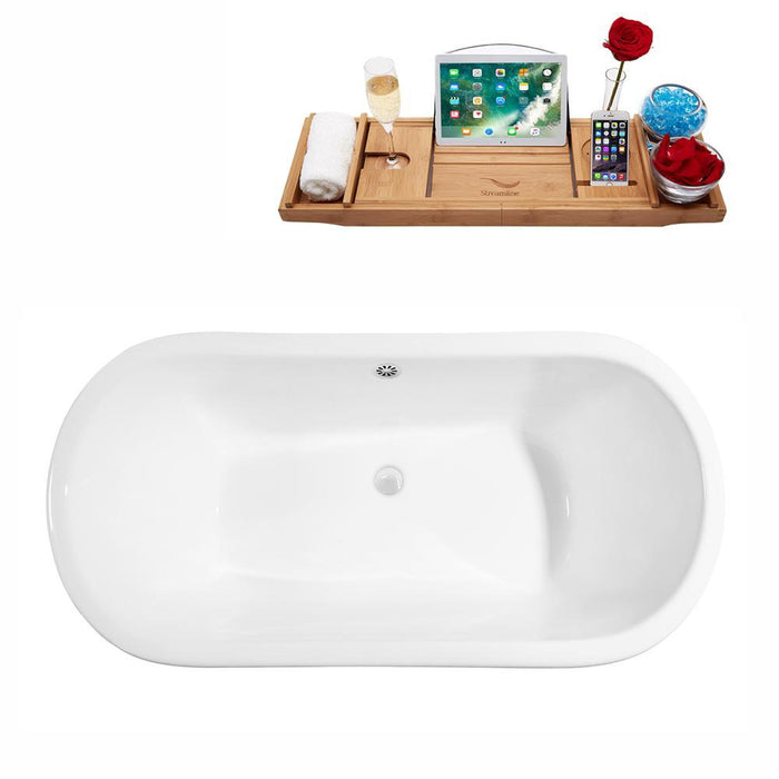 "67"" Cast Iron R5060WH-WH Soaking Clawfoot Tub and Tray with External Drain"