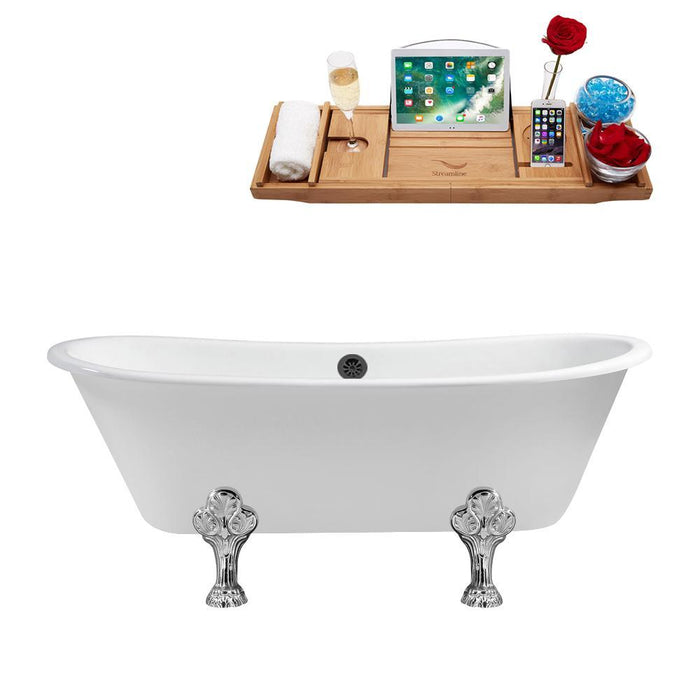 "67"" Cast Iron R5061WH-BL Soaking Clawfoot Tub and Tray with External Drain"