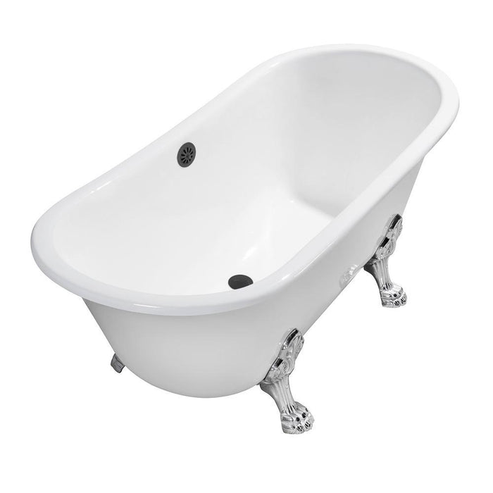 "67"" Cast Iron R5061CH-BL Soaking Clawfoot Tub and Tray with External Drain"