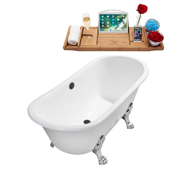 "67"" Cast Iron R5061WH-BNK Soaking Clawfoot Tub and Tray with External Drain"